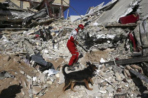 A rescue worker searches the debris with his sniffing dog on the earthquake site in Sarpol-e-Zahab in western Iran, Tuesday, Nov. 14, 2017. Rescuers are digging through the debris of buildings felled by the Sunday earthquake that killed more than four hundreds of people in the border region of Iran and Iraq.