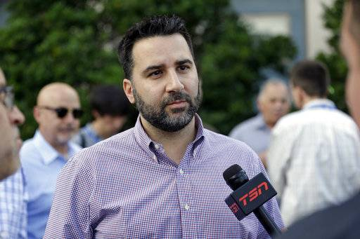 New Atlanta Braves general manager Alex Anthopoulos talks with members of the media at the annual MLB baseball general managers' meetings, Tuesday, Nov. 14, 2017, in Orlando, Fla.