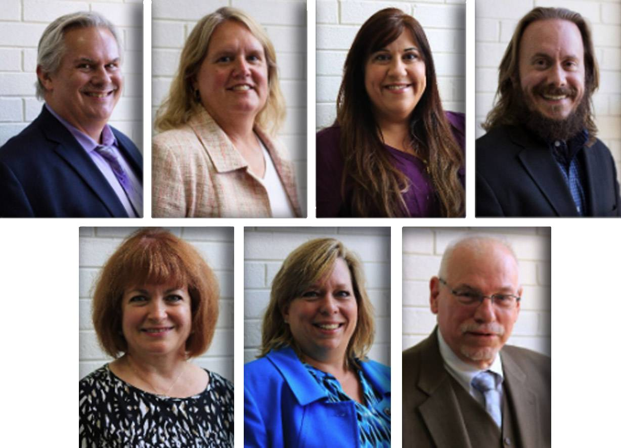 Upper from left, Ronald Burton, Stephanie Duckmann, Tina Garrett and Brian Inzerello and, lower from left, Sharon Lynch, Beth Morley and James Poskozim are members of the Des Plaines Elementary District 62 school board.