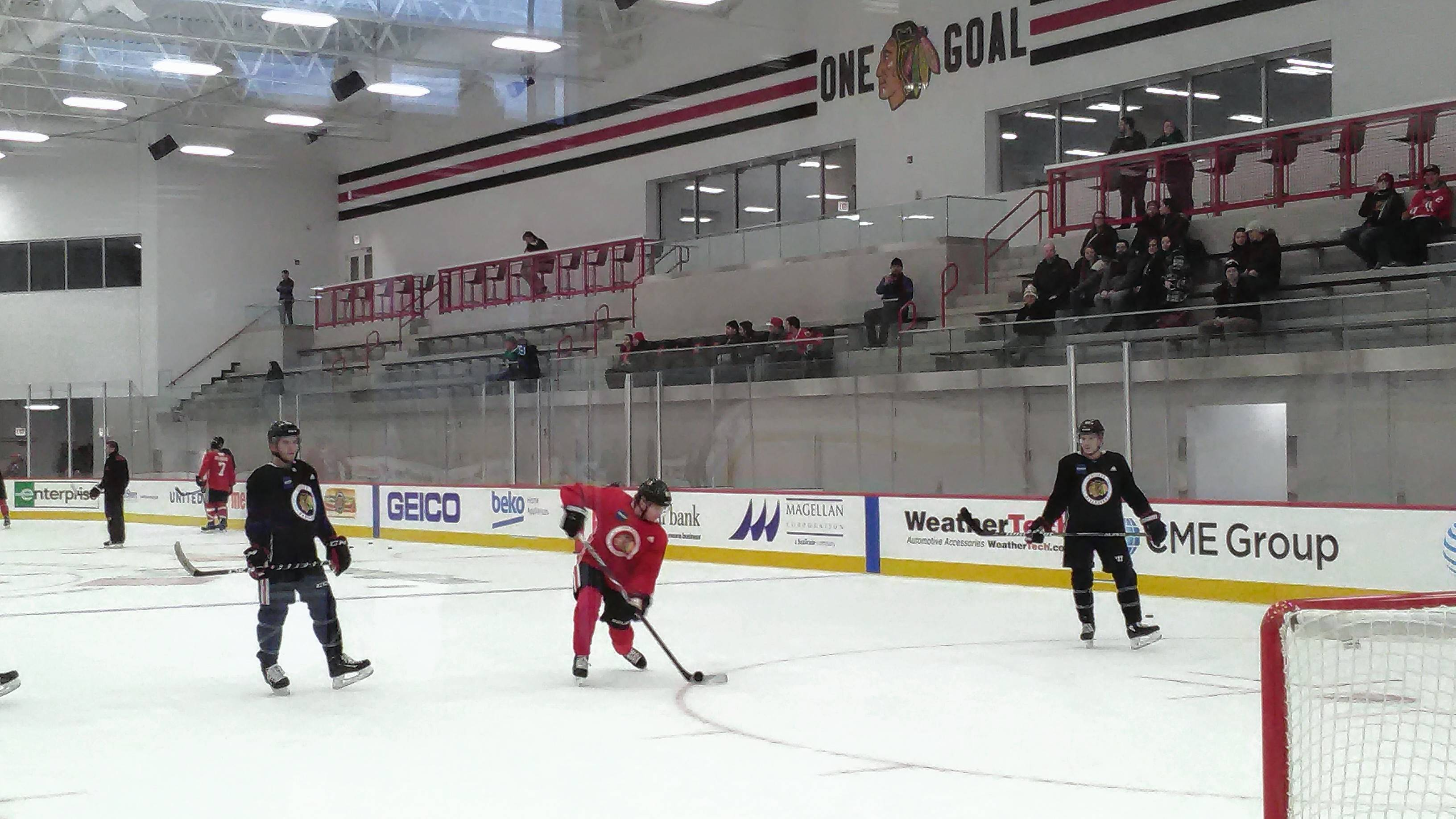 Patrick Kane takes one-timers at the Blackhawks new practice facility on Thursday. ndeed. The MB Ice Arena — located just six blocks south of the United Center — boasts 125,000 square feet of space and comes with every state-of-the art amenity you can dream of when it comes to helping hockey players hone their craft.