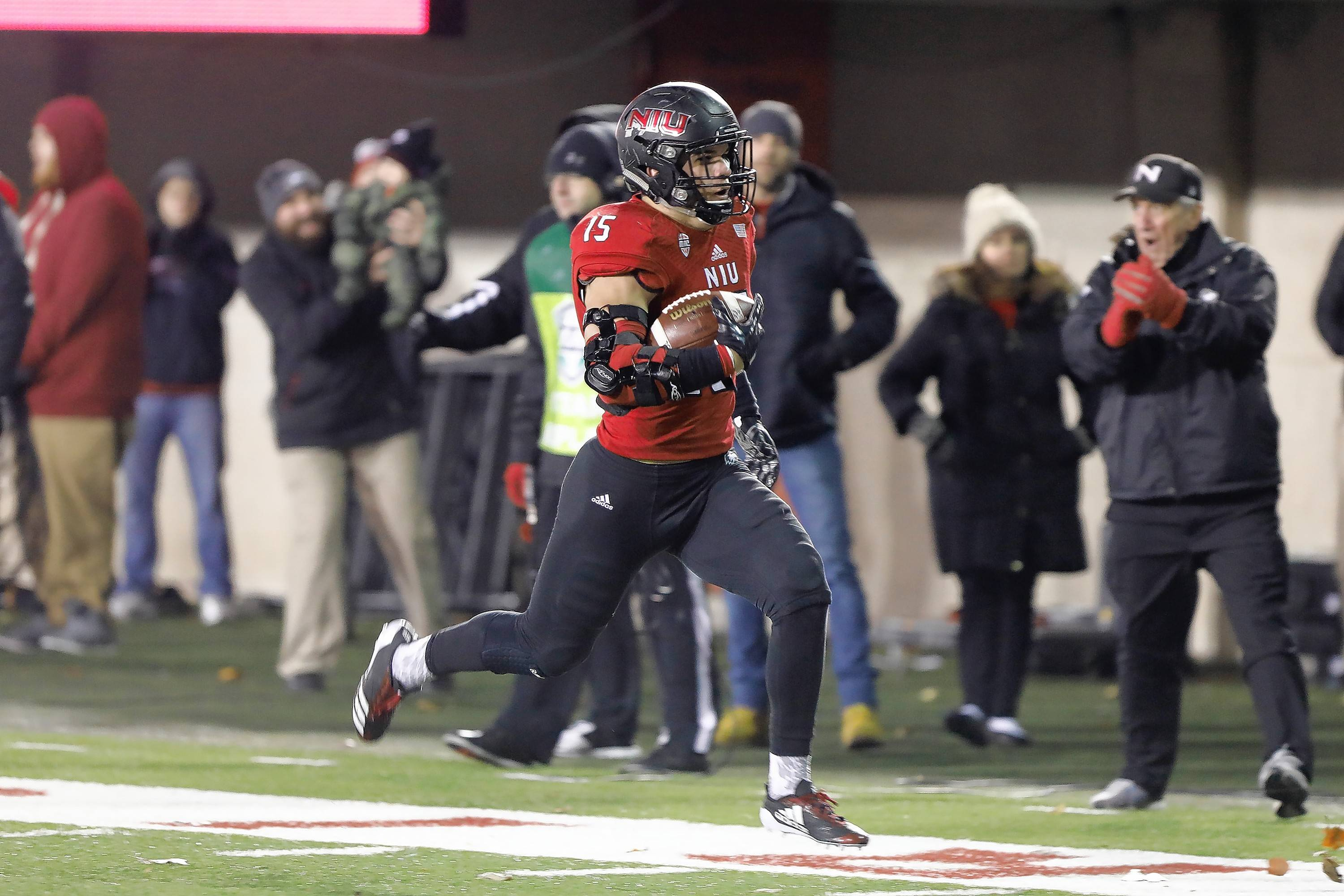 Sutton Smith returns a fumble for a touchdown in Wednesday's victory by Northern Illinois over Western Michigan at Huskie Stadium in DeKalb.
