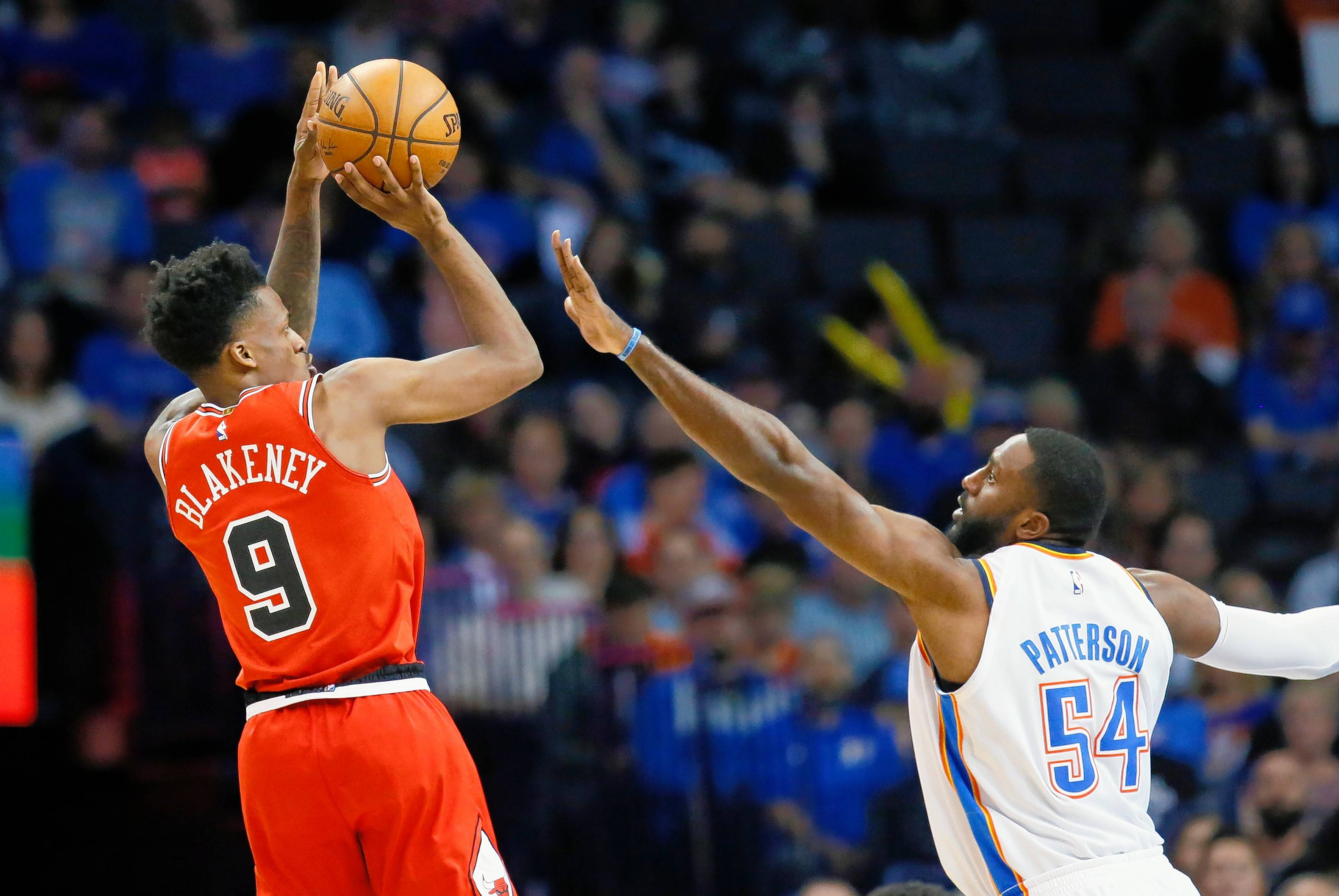 Chicago Bulls guard Antonio Blakeney shoots over Oklahoma City Thunder forward Patrick Patterson in Wednesday's road loss. Blakeney finished with 16 points as Oklahoma City won 92-79.
