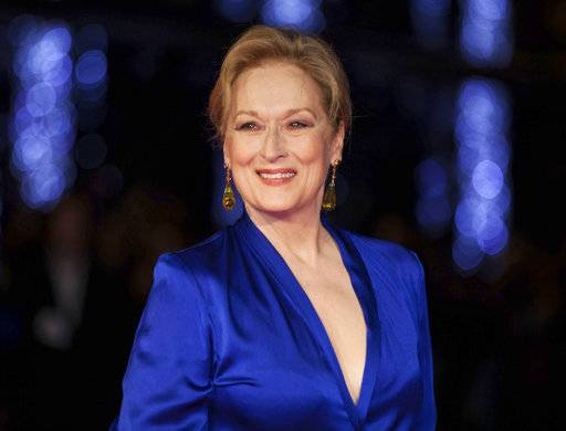 "FILE - This Oct. 7, 2015 file photo shows Meryl Streep at the premiere of the film ""Suffragette,"" at the London film festival in London. Streep told the audience at the 27th annual International Press Awards in New York on Wednesday, Nov. 15, 2017, that has she experienced violence twice in her life, and the experiences changed her ""on a cellular level."" (Photo by Grant Pollard/Invision/AP, File)"