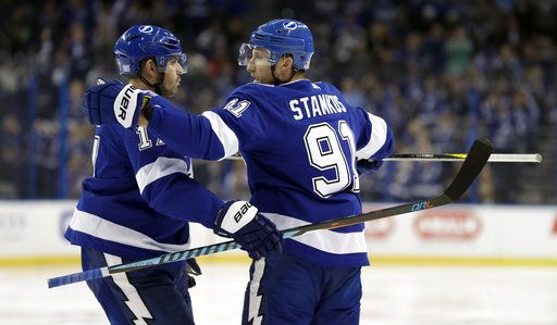 new style 734a5 f3287 Stamkos scores twice, Lightning top Stars in Bishop's return