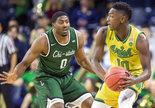 Notre Dame's T.J. Gibbs (10) is pressured by Chicago State's Glen Burns (0) during the first half of an NCAA college basketball game Thursday, Nov. 16, 2017, in South Bend, Ind. (AP Photo/Robert Franklin)