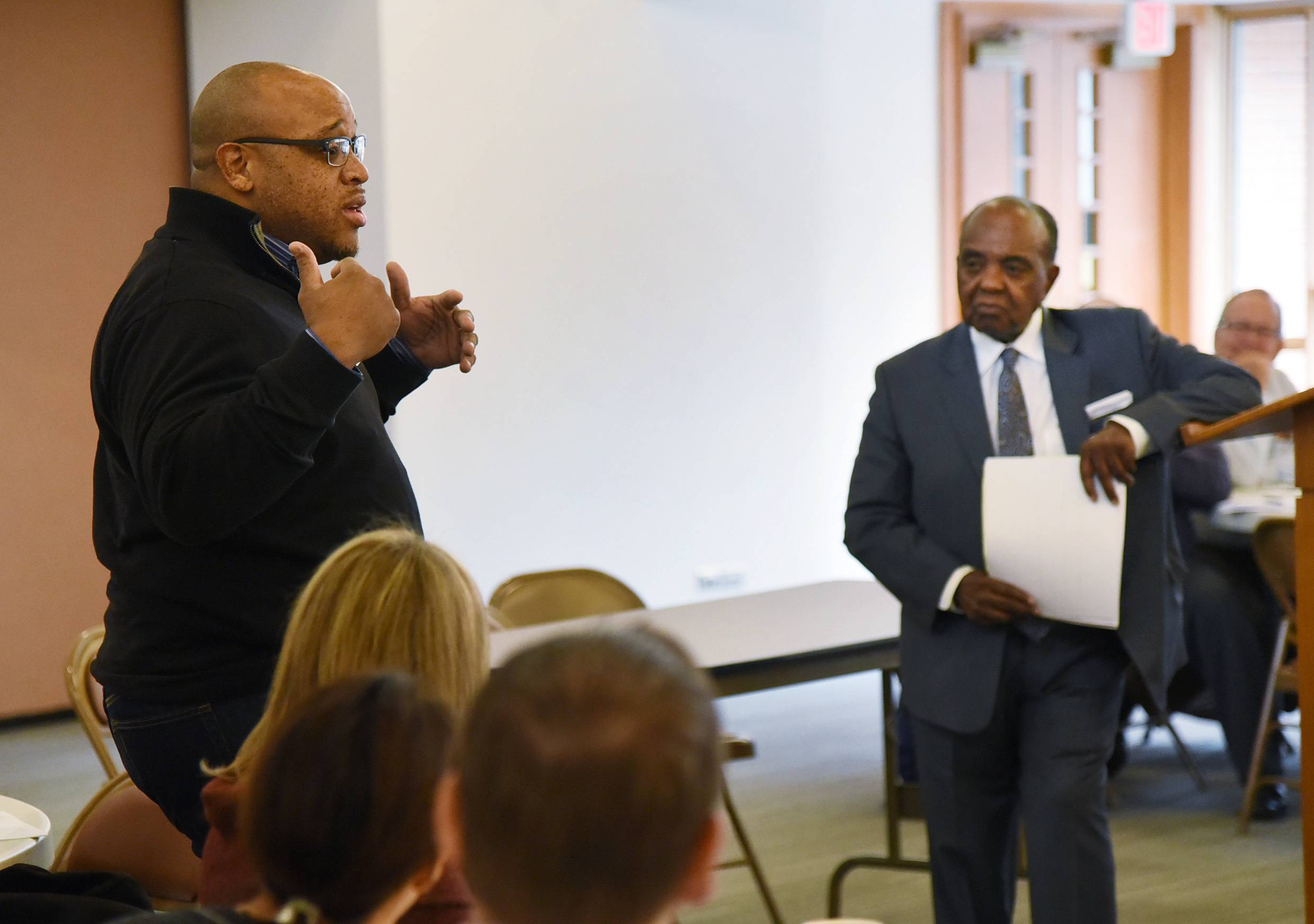 Allen Swilley of the United Palatine Coalition voices his opinions with Northwest suburban community leaders, clergy and residents who gathered at Our Savior's Lutheran Church in Arlington Heights Friday to talk about America's racial divisions.
