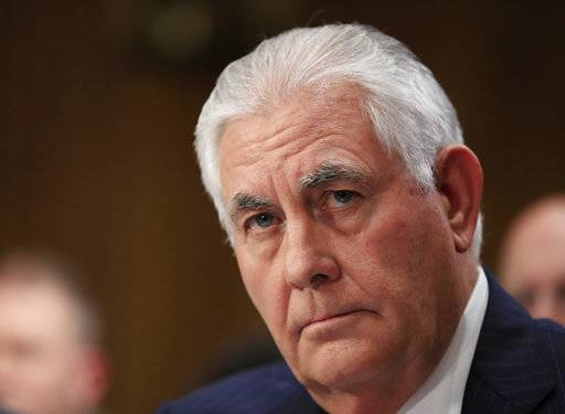 FILE- In this Oct. 30, 2017, file photo, Secretary of State Rex Tillerson testifies before a Senate Foreign Relations Committee hearing on Capitol Hill in Washington. The Trump administration put the Palestinians on notice Friday, Nov. 17, 2017, that it will shut their office in Washington unless they've entered serious peace talks with Israel, U.S. officials said. Tillerson has determined that the Palestinians ran afoul of an obscure provision in a U.S. law that says the Palestine Liberation Organization's mission must close if the Palestinians try to get the International Criminal Court to prosecute Israelis for crimes against Palestinians. (AP Photo/Manuel Balce Ceneta, File)