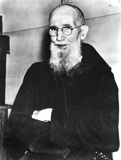 FILE - This 1954 file photo shows Father Solanus Casey, a member of the Capuchin Franciscan Order of St. Joseph. The Detroit priest, who is credited with helping cure a woman with a skin disease, is being beatified by the Roman Catholic Church, a major step toward sainthood. More than 60,000 people are expected Saturday, Nov. 18, 2017 at a Mass at Ford Field. (Detroit News via AP)