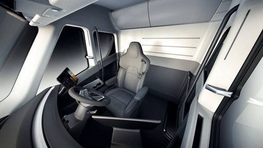 This photo provided by Tesla shows the interior overview of the new electric semitractor-trailer unveiled on Thursday, Nov. 16, 2017. The move fits with Tesla CEO Elon Musk's stated goal for the company of accelerating the shift to sustainable transportation. (Tesla via AP)