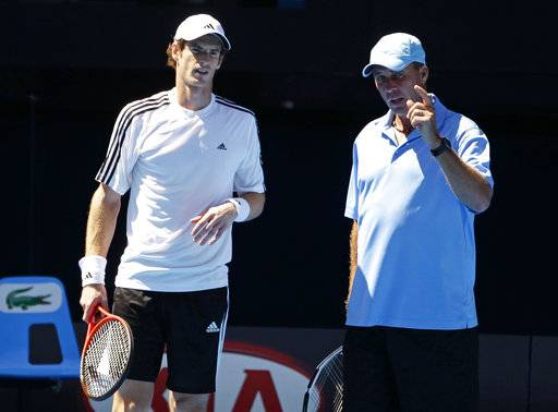 FILE - in this Jan. 15, 2012 file photo, Andy Murray of Britain, left, talks with coach Ivan Lendl during a practice session for the Australian Open tennis championship, in Melbourne, Australia. Murray and Lendl are calling it quits for a second time, ending a partnership that produced three Grand Slam titles and two Olympic gold medals. (AP Photo/Sarah Ivey, File)