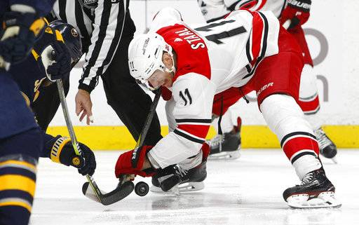 Carolina Hurricanes forward Jordan Staal (11) takes a faceoff during the first period of an NHL hockey game against the Buffalo Sabres, Saturday, Nov. 18, 2017, in Buffalo, N.Y. (AP Photo/Jeffrey T. Barnes)