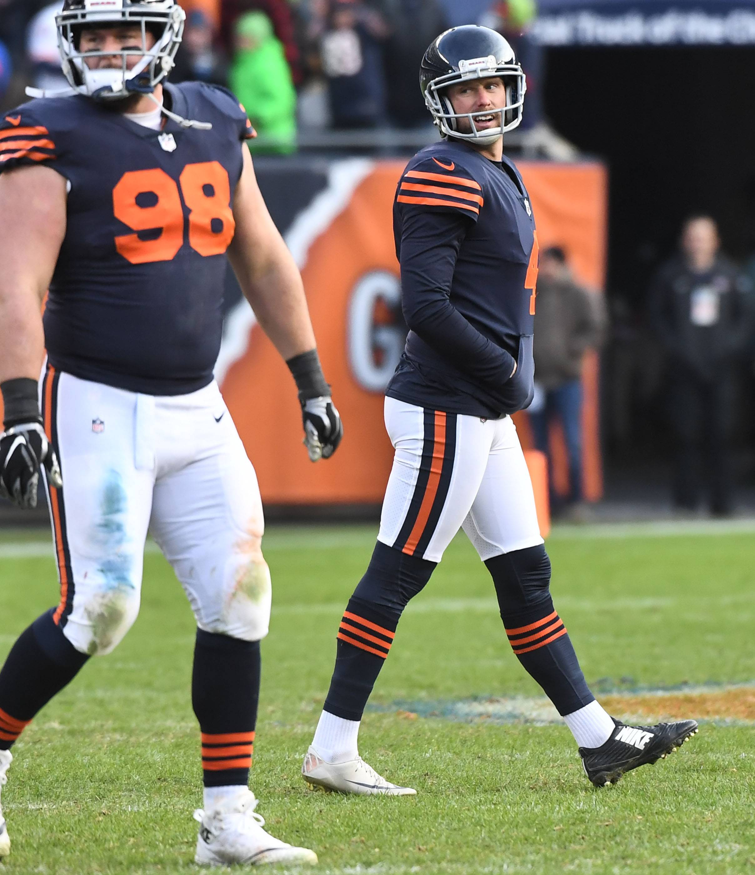 Chicago Bears kicker Connor Barth looks over his shoulder at the goal posts after missing a potential game-tying field goal against the Detroit Lions Sunday at Soldier Field in Chicago.