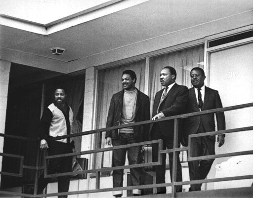 FILE - In this April 3, 1968 file photo, the Rev. Martin Luther King Jr. stands with other civil rights leaders on the balcony of the Lorraine Motel in Memphis, Tenn., a day before he was assassinated at approximately the same place. From left are Hosea Williams, Jesse Jackson, King, and Ralph Abernathy.