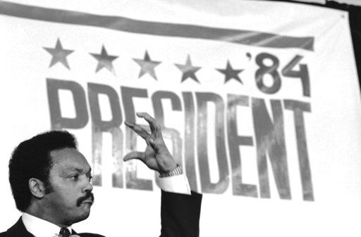 FILE - In this Thursday, Nov. 3, 1983 file photo, Rev. Jesse Jackson addresses supporters in Washington, after he announced he would seek the Democratic presidential nomination.