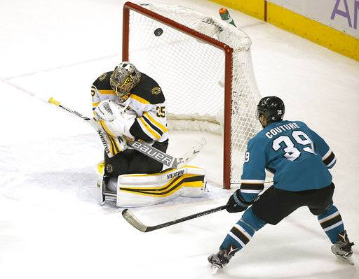 Boston Bruins goalie Anton Khudobin (35) blocks a goal attempt by San Jose Sharks center Logan Couture (39) during the third period of an NHL hockey game Saturday, Nov. 18, 2017, in San Jose, Calif. Boston won 3-1.