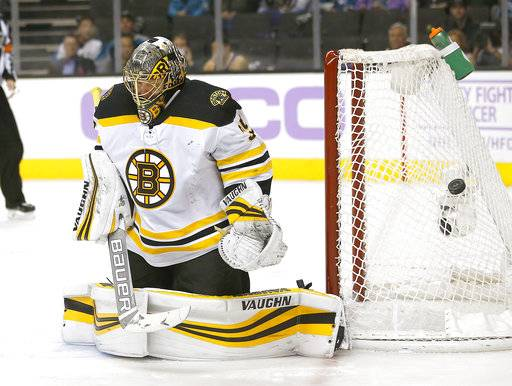 Boston Bruins goalie Anton Khudobin (35) stops a shot by the San Jose Sharks during the second period of an NHL hockey game Saturday, Nov. 18, 2017, in San Jose, Calif.