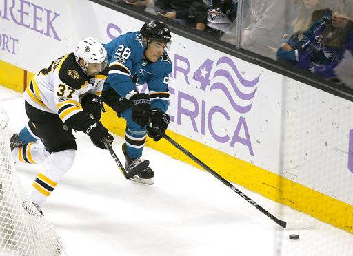 Boston Bruins center Patrice Bergeron (37) works for the puck against San Jose Sharks right wing Timo Meier (28) during the third period of an NHL hockey game Saturday, Nov. 18, 2017, in San Jose, Calif. Boston won 3-1.