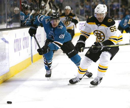 San Jose Sharks right wing Timo Meier (28) battles for the puck against Boston Bruins center Tim Schaller (59) during the second period of an NHL hockey game Saturday, Nov. 18, 2017, in San Jose, Calif.