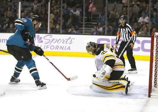 Boston Bruins goalie Anton Khudobin (35) blocks a shot by the San Jose Sharks center Tomas Hertl (48) during the second period of an NHL hockey game Saturday, Nov. 18, 2017, in San Jose, Calif.