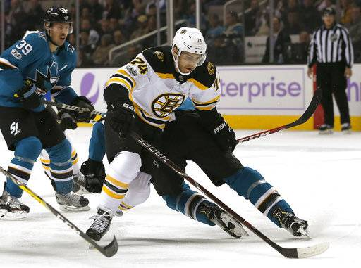 Boston Bruins left wing Jake DeBrusk (74) move the puck around a San Jose Sharks defender to score a goal during the first period of an NHL hockey game Saturday, Nov. 18, 2017, in San Jose, Calif.