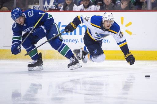 Vancouver Canucks' Derrick Pouliot, left, and St. Louis Blues' Jaden Schwartz collide during the first period of an NHL hockey game Saturday, Nov. 18, 2017, in Vancouver, British Columbia. (Darryl Dyck/The Canadian Press via AP)