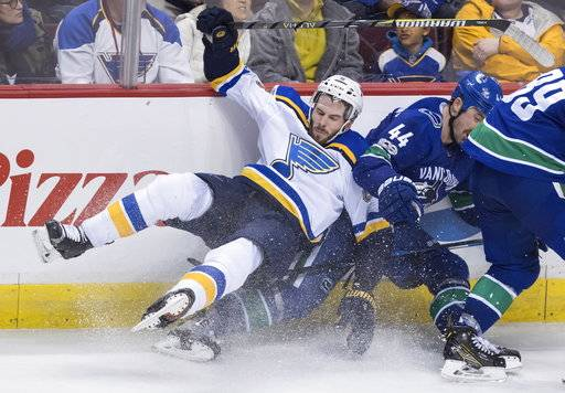 St. Louis Blues' Joel Edmundson, left, and Vancouver Canucks' Erik Gudbranson collide during the third period of an NHL hockey game Saturday, Nov. 18, 2017, in Vancouver, British Columbia. (Darryl Dyck/The Canadian Press via AP)