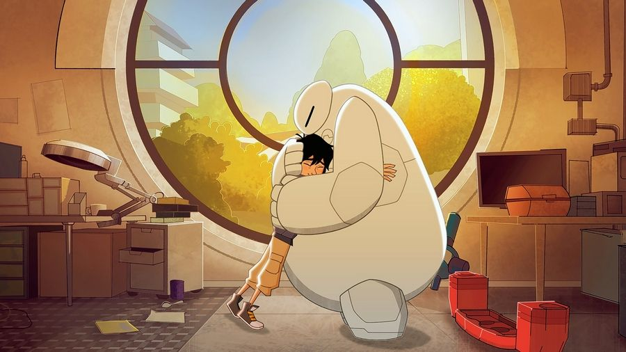 "Hiro Hamada and Baymax hug during a scene in ""Baymax Returns"" on Disney XD."