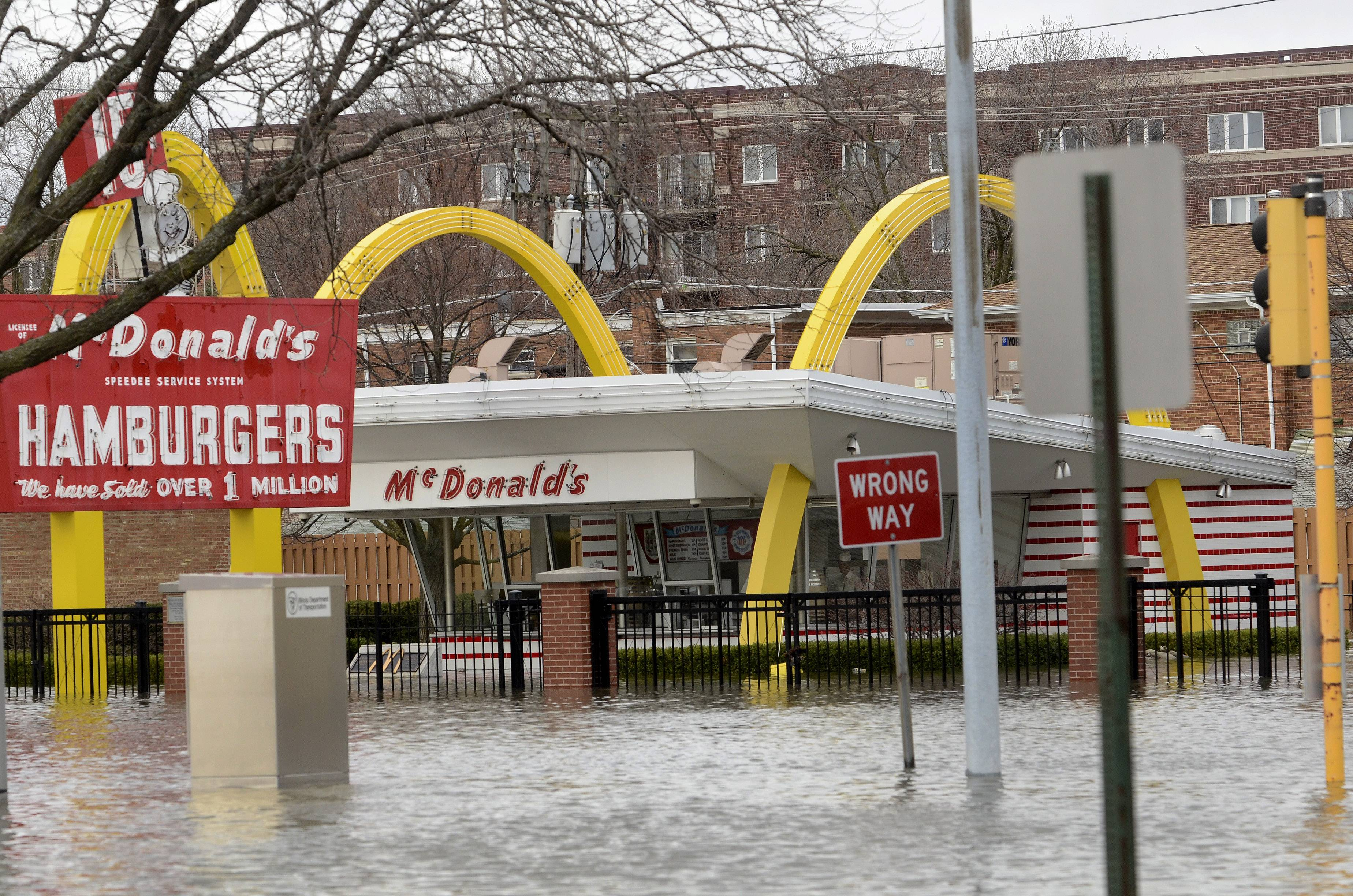 Floodwaters surrounded the site of the original McDonald's in Des Plaines in April 2013. The replica museum's location was one reason cited by company officials in deciding to demolish the building.