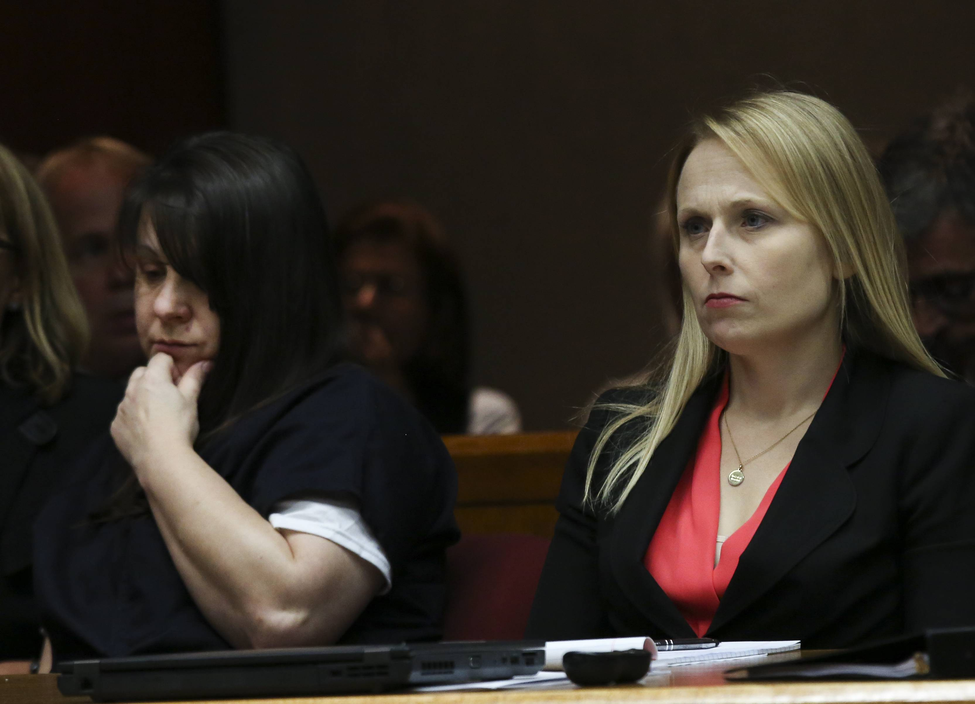 Elzbieta Plackowska, left, shown with Assistant Public Defender Kristen Nevdal at her September trial, is expected to be sentenced Dec. 15 after being convicted of 10 counts of first-degree murder and two counts of animal cruelty.