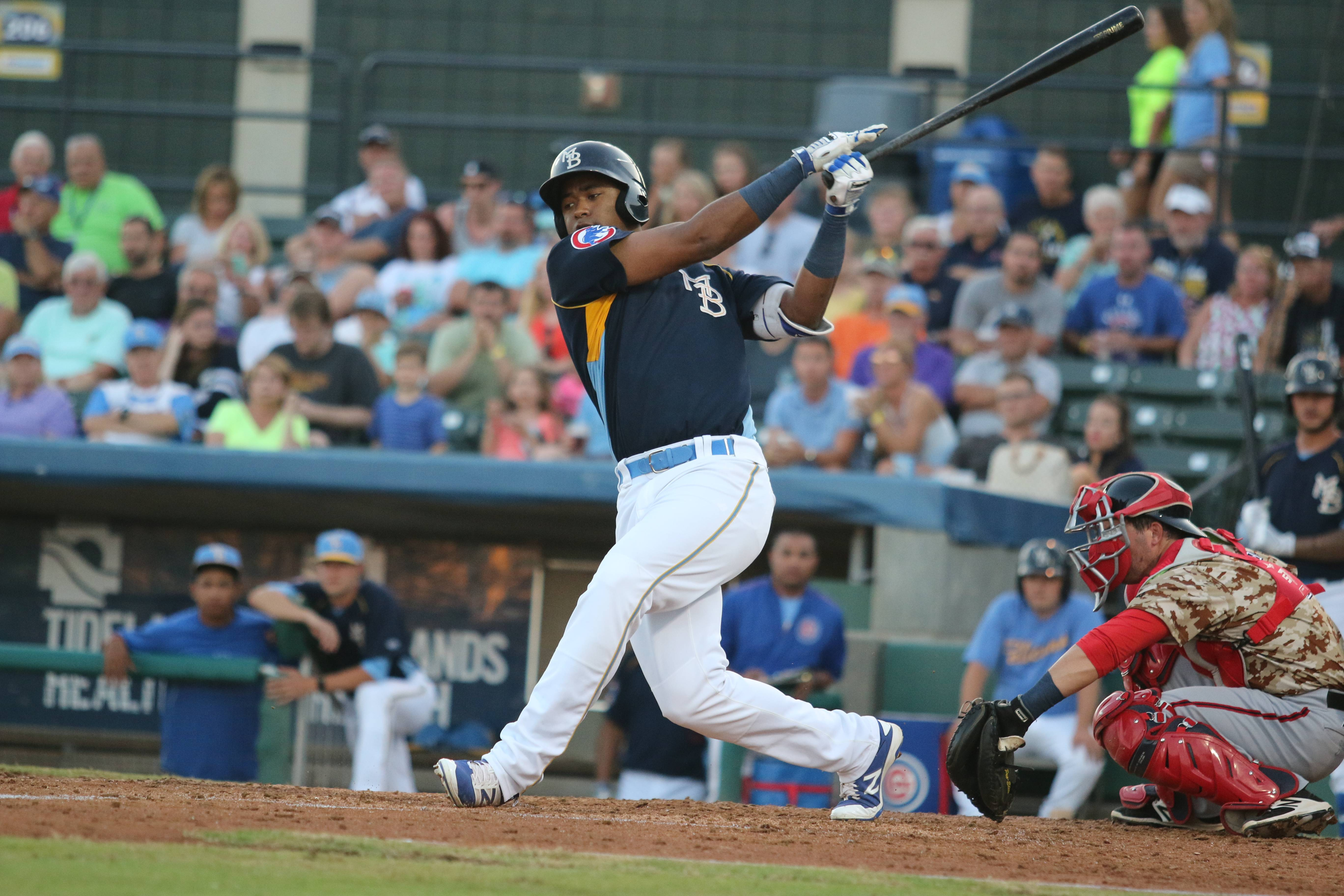 Eloy Jimenez, shown here in action at Myrtle Beach, was placed on the White Sox 40-man roster this week.