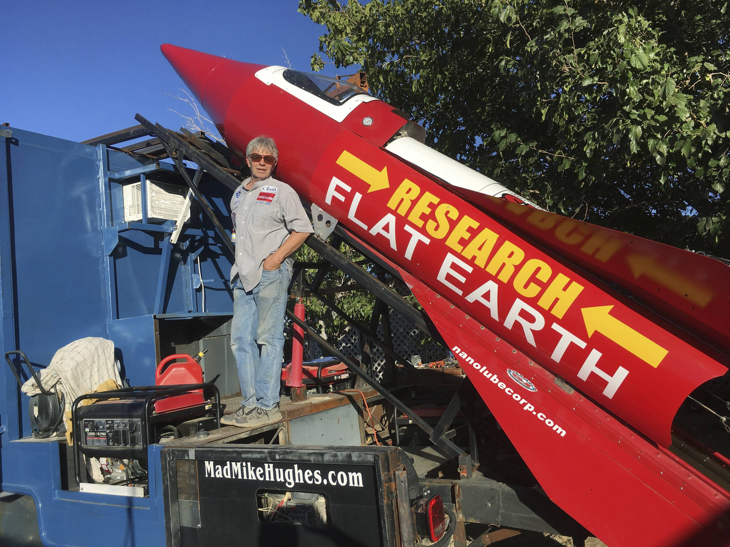 Daredevil/limousine driver Mad Mike Hughes is shown with with his steam-powered rocket constructed out of salvage parts on a five-acre property that he leases in Apple Valley, California. Hughes plans to launch his homemade contraption on Saturday at a speed of roughly 500 miles-per-hour.