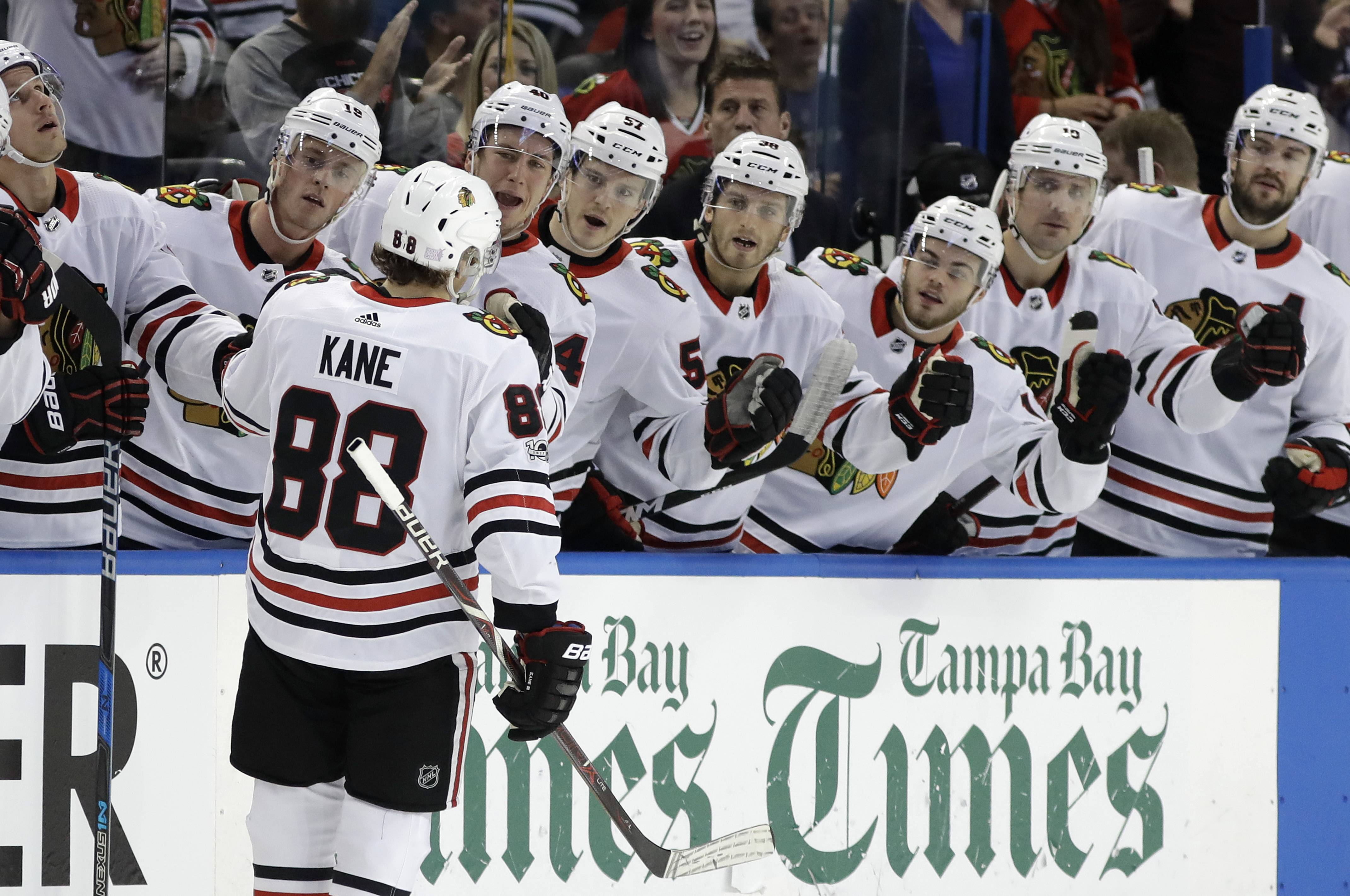 Blackhawks' right wing Patrick Kane celebrates after his second goal against the Tampa Bay Lightning during the first period on Wednesday in Tampa, Fla. It was Kane's first multi-goal game since March 4.