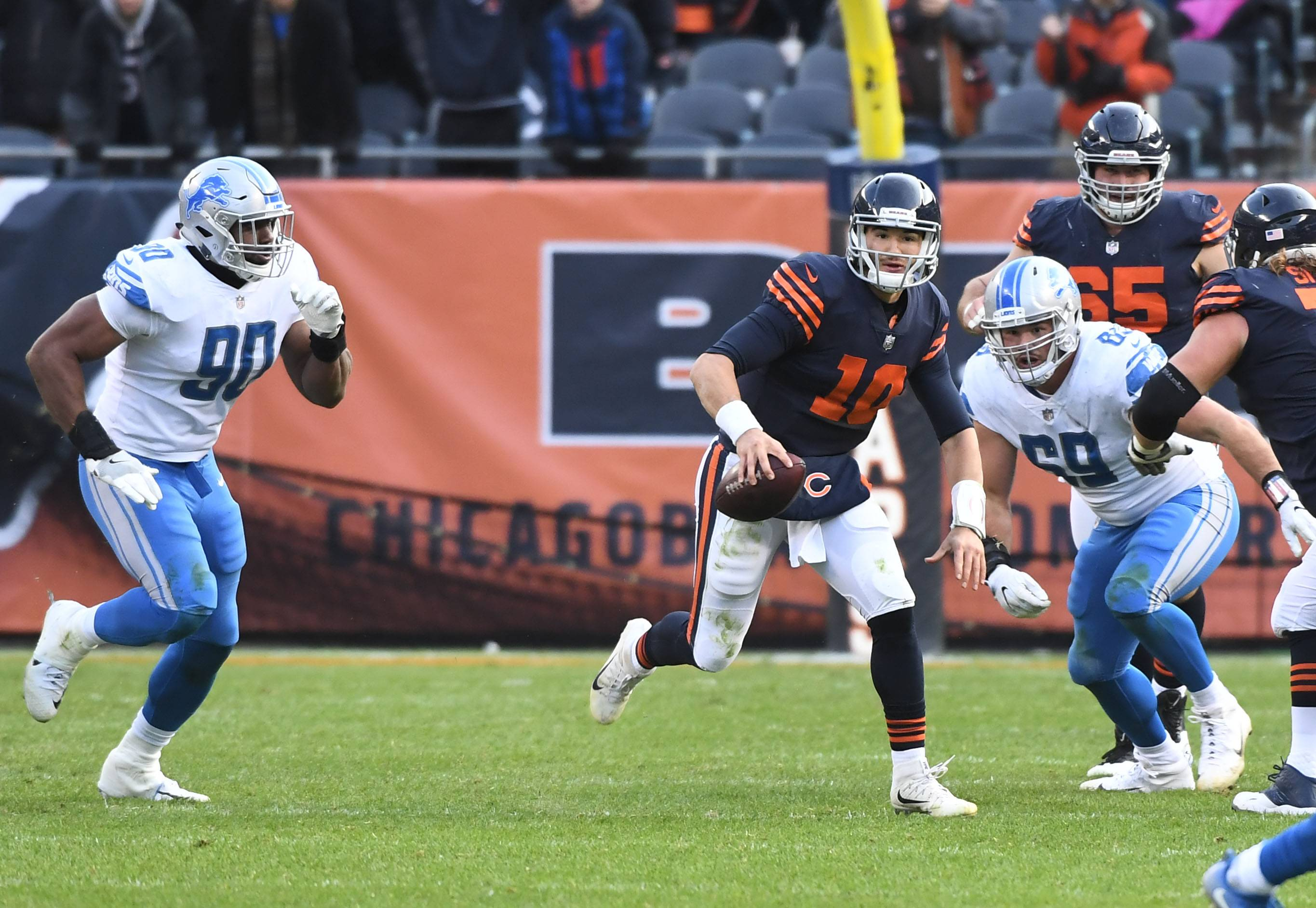 Chicago Bears quarterback Mitchell Trubisky scrambles for a first down late in last Sunday's game against the Detroit Lions at Soldier Field.