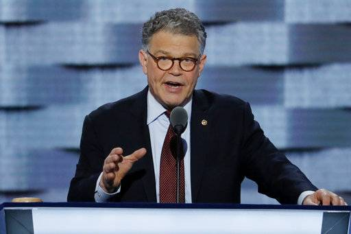 "FILE - In this July 25, 2016, file photo, Sen. Al Franken, D-Minn., speaks during the Democratic National Convention in Philadelphia. Democrats have been quick to support the ""me too� chorus of women _ and some men _ who have stepped up to allege sexual misconduct and name names. But now ""me too� stains the Democrats, too, putting them in an awkward place as they calibrate how forcefully to respond. (AP Photo/J. Scott Applewhite, File)"
