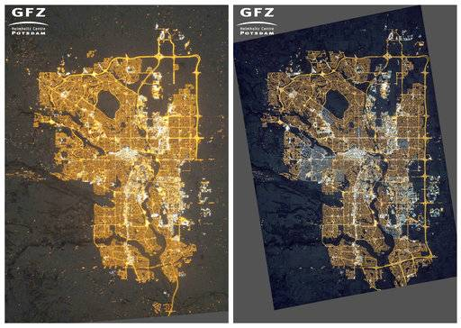 This photo combo of images provided by NASA's Earth Observatory/Kyba, GFZ shows photographs of Calgary, Alberta, Canada, taken from the International Space Station on Dec. 23, 2010, left, where residential areas are mainly lit by orange sodium lamps; and on Nov. 27, 2015, right, where many areas on the outskirts are newly lit compared to 2010, and many neighborhoods have switched from orange sodium lamps to white LED lamps. (NASA's Earth Observatory/Kyba, GFZ via AP)