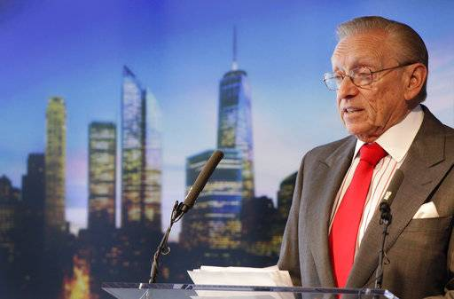 FILE - In this Aug. 24, 2011 file photo, developer Larry Silverstein speaks at a news conference in New York where he discussed the progress at the World Trade Center. Insurers for defendants including American Airlines and United Airlines have agreed to pay $95 million to Silverstein and World Trade Center Properties to settle claims that security lapses led planes to be hijacked in the Sept. 11 attacks. (AP Photo/Mark Lennihan, File)