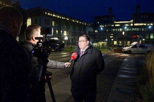 Dragan Ivetic, lawyer for former Bosnian Serb military chief Ratko Mladic, is interviewed in front of the Yugoslav War Crimes Tribunal where the court is scheduled to hand down the verdict in the genocide case against Mladic, in The Hague, Netherlands, Wednesday, Nov. 22, 2017. Mladic's trial is the last major case for the Netherlands-based tribunal for former Yugoslavia, which was set up in 1993 to prosecute those most responsible for the worst carnage in Europe since World War II.