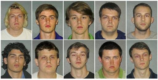 FILE - This combination of undated images shows from top row left to right: Sean Paul Gott, Ryan Isto, Sean Pennison, Elliot Eaton, Nicholas Taulli, and bottom row from left to right, Zachary Castillo, Hudson Kirkpatrick, Zachary Hall, Patrick Forde, and Matthew Naquin. At Louisiana State, 10 people were arrested in Oct. 2017, on misdemeanor hazing charges in the alcohol-related death of 18-year-old Maxwell Gruver, and one suspect also was charged with felony negligent homicide. (East Baton Rouge Parish Sheriff's Office via AP, File)