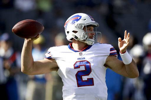 Buffalo Bills quarterback Nathan Peterman warms up before an NFL football game against the Los Angeles Chargers, Sunday, Nov. 19, 2017, in Carson, Calif. (AP Photo/Jae C. Hong)