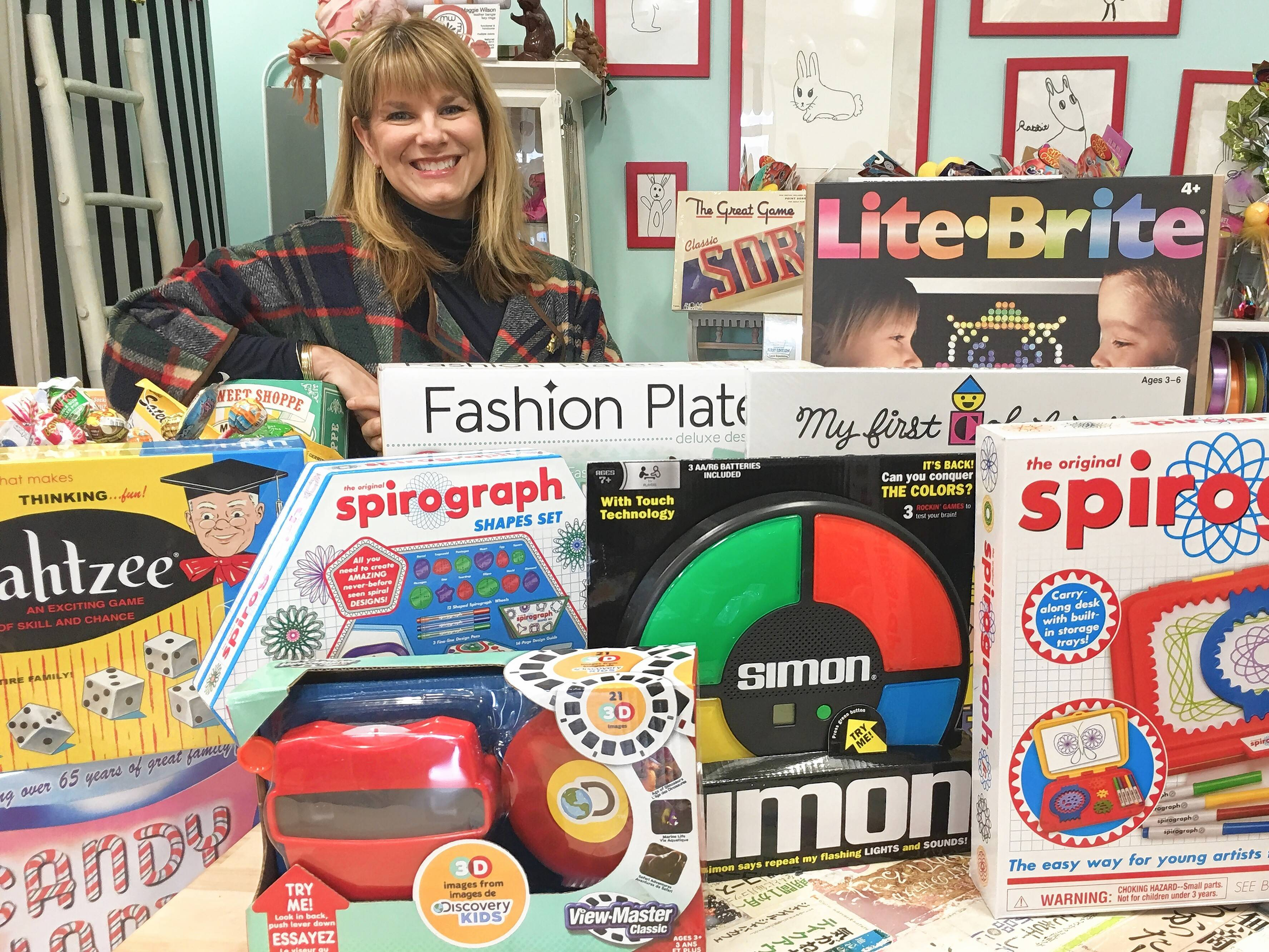 """There's this nostalgic trend with parents wanting to recapture their youth,"" said Kate Erickson, marketing consultant for Beat Street Toys in Arlington Heights. Examples of items sold in her store are scratch-and-sniff smelly stickers, a new of version of 1970s-era Lite-Brite toy, macramé pot holders, Fashion Plates designing kits, and latch hook rugs."