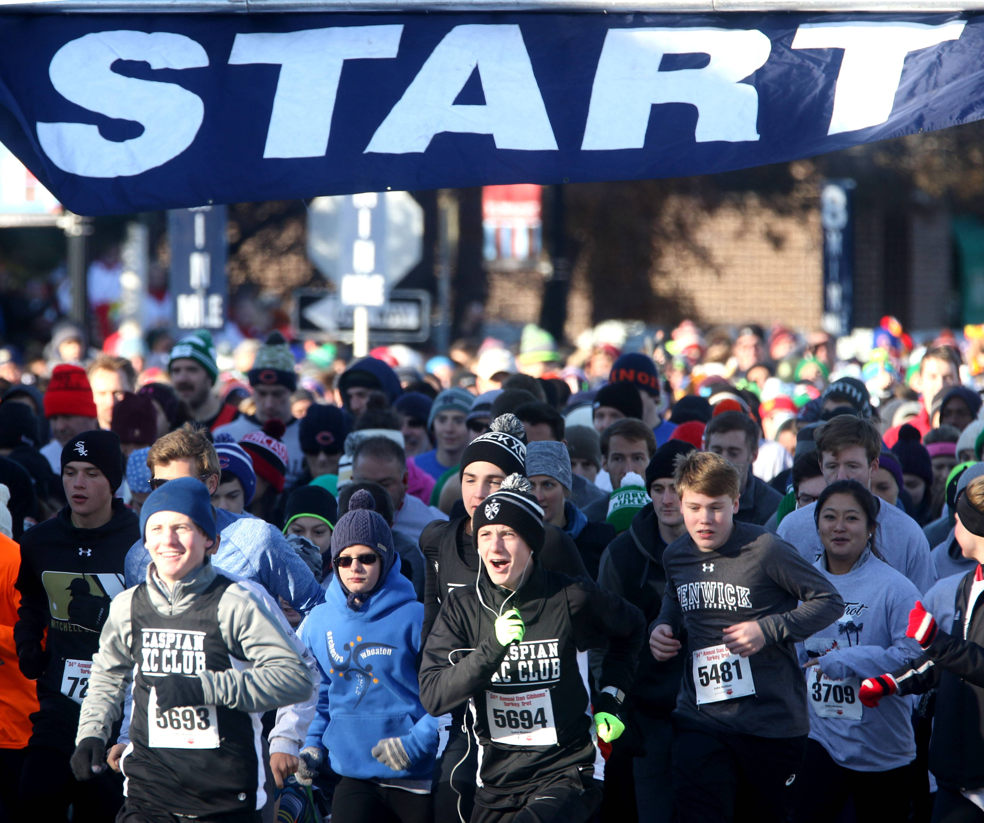 The 34th annual Dan Gibbons Turkey Trot begins in Elmhurst Thanksgiving morning.