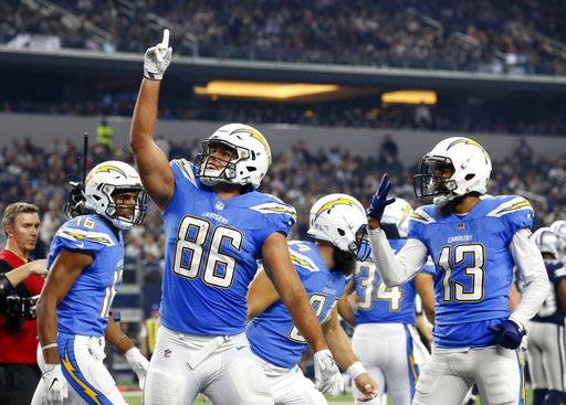 Los Angeles Chargers' Hunter Henry (86) celebrates his touchdown catch with Tyrell Williams (16) and Keenan Allen (13) in the second half of an NFL football game against the Dallas Cowboys on Thursday, Nov. 23, 2017, in Arlington, Texas. (AP Photo/Michael Ainsworth)