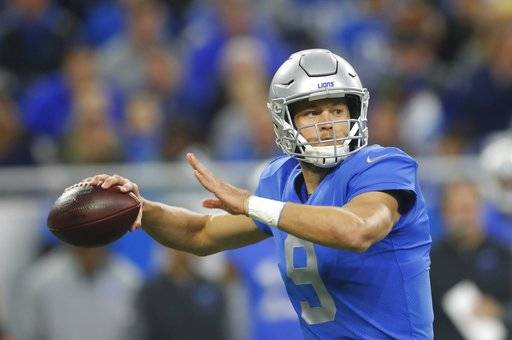 Detroit Lions quarterback Matthew Stafford throws during the first half of an NFL football game against the Minnesota Vikings, Thursday, Nov. 23, 2017, in Detroit. (AP Photo/Paul Sancya)