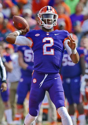 Clemson quarterback Kelly Bryant drops back to deliver a pass during the first half of an NCAA college football game against Citadel, Saturday, Nov. 18, 2017, in Clemson, S.C. (AP Photo/Richard Shiro)
