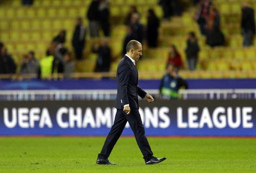 Monaco's head coach Leonardo Jardim walks away after the Champions League Group G soccer match between Monaco and Leipzig at the Louis II stadium in Monaco, Tuesday Nov. 21, 2017. Leipzig won 4-1. (AP Photo/Claude Paris)