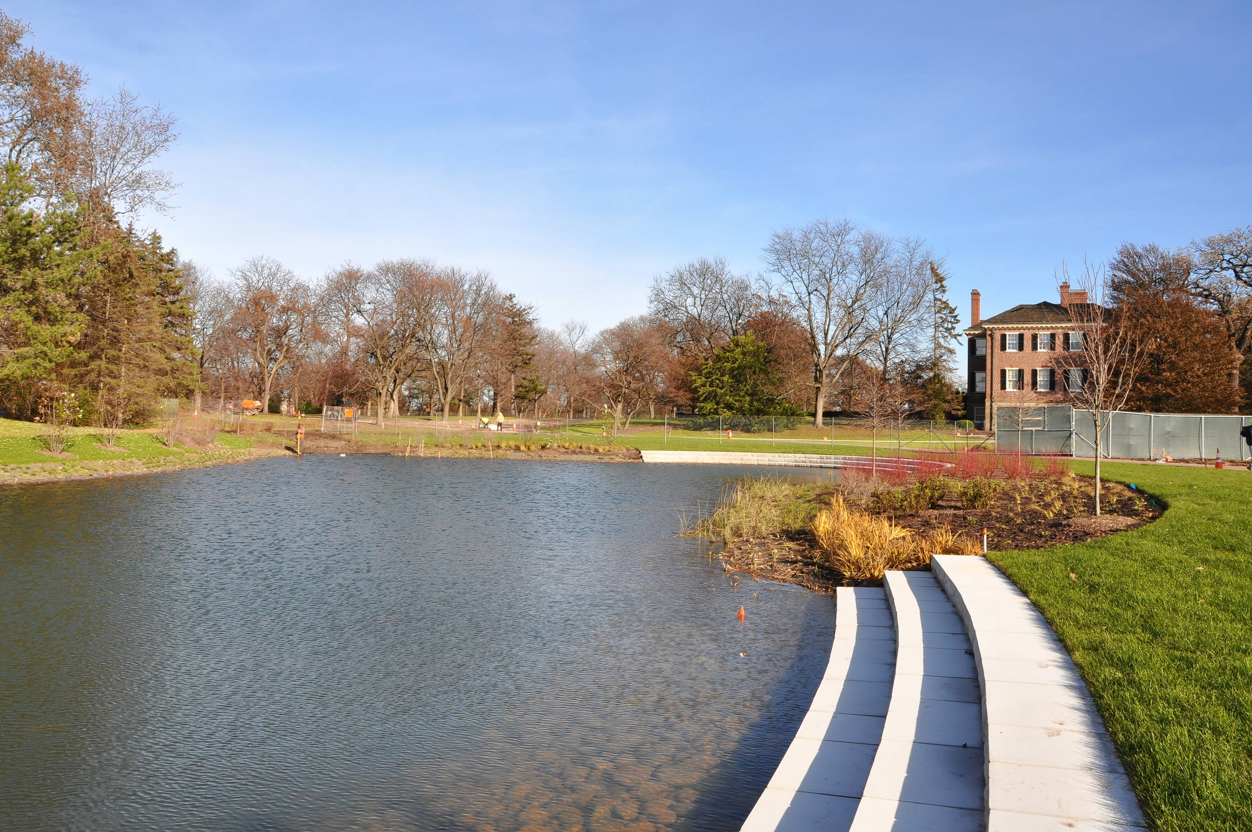 "New stairs lead to the edge of a pond that has doubled in size. ""We wanted to make the accessibility to water much easier,"" said Joy Kaminsky, Cantigny's horticulture director."