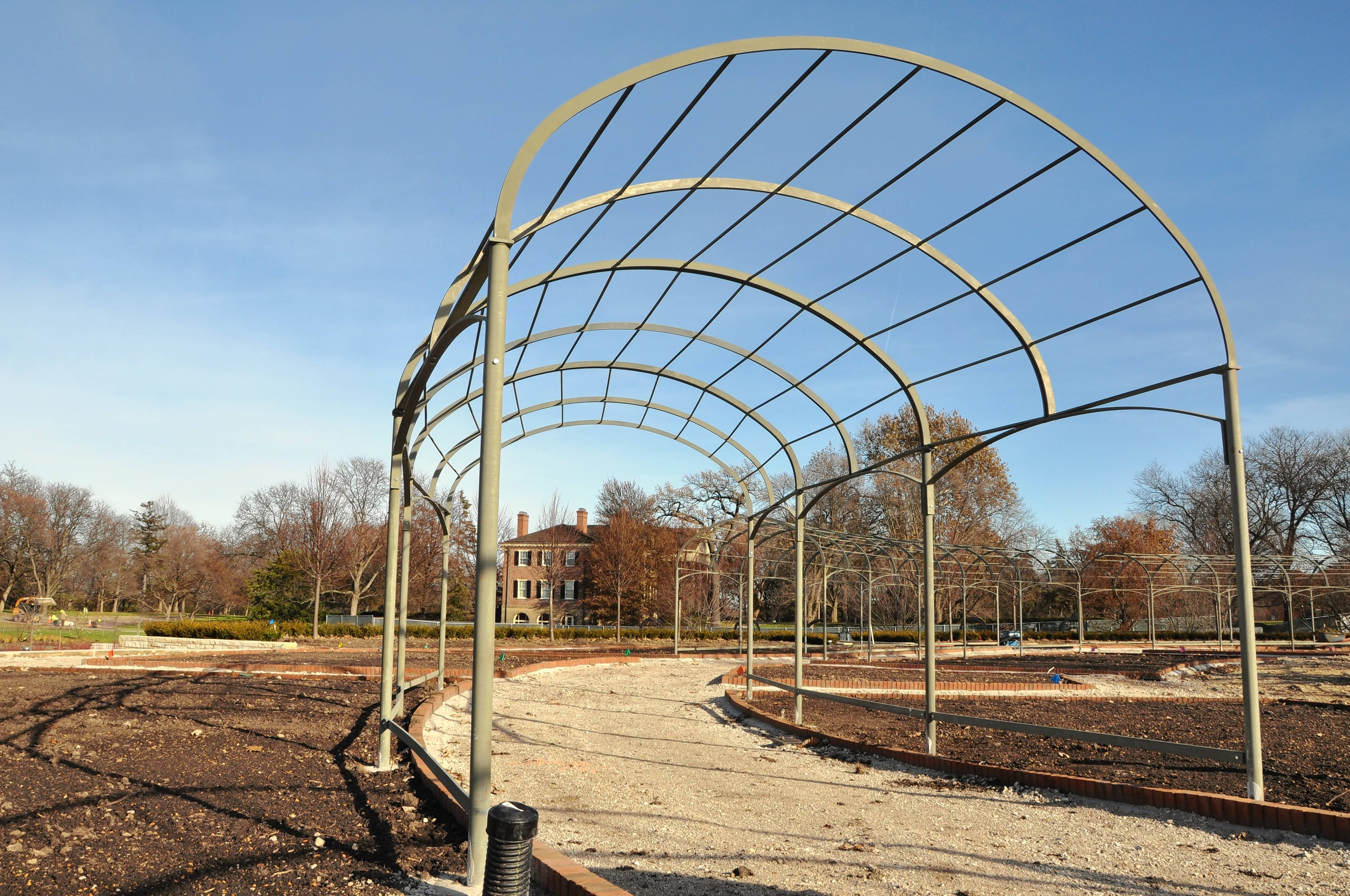 Climbing plants will grow on steel trellises in Cantigny's new-look gardens.