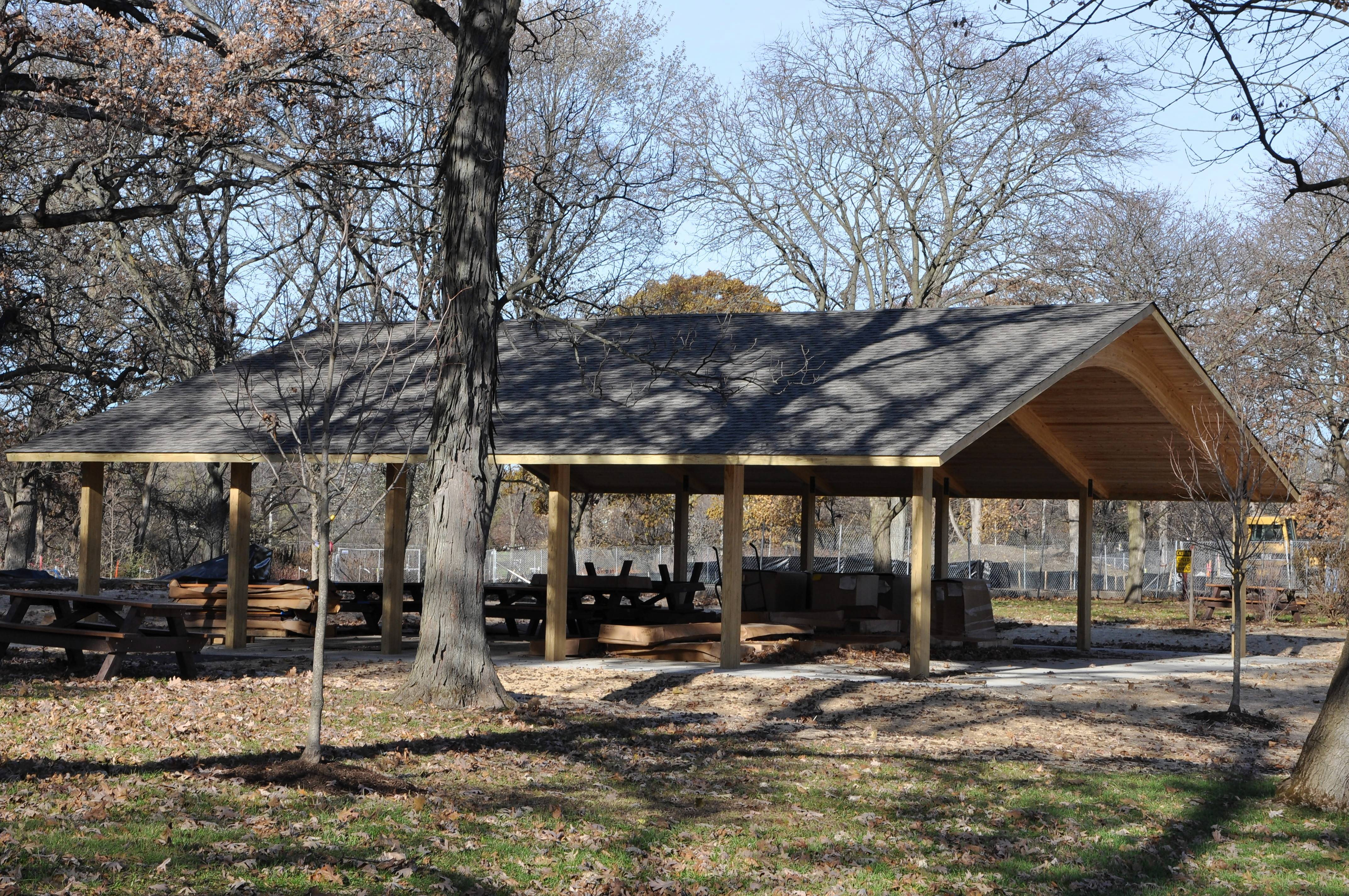 A new picnic pavilion sits by the site where a playground will be installed in early December near the entrance of Cantigny Park.