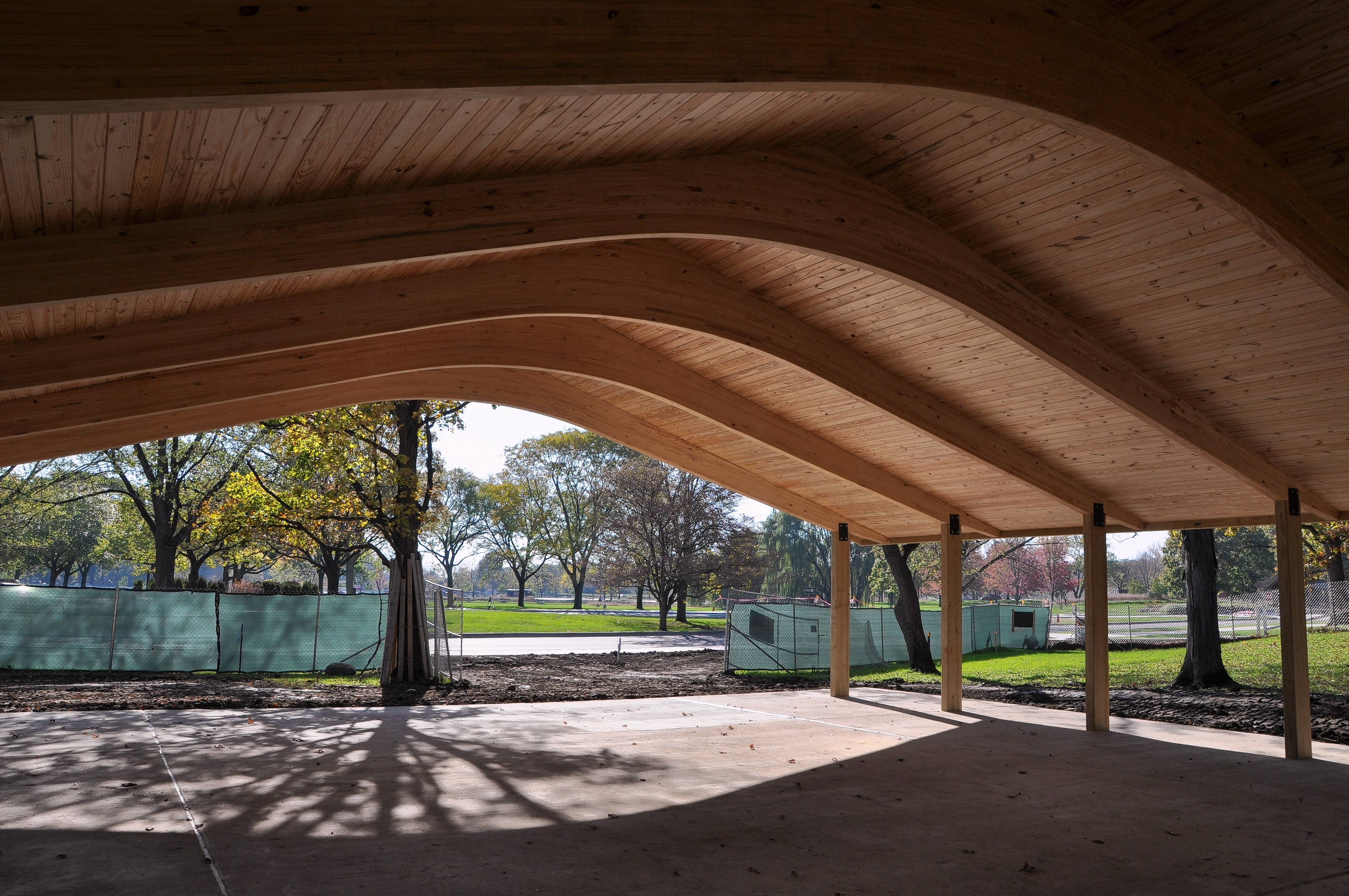 The pavilion offers shade for visitors bringing a picnic to Cantigny Park in Wheaton.