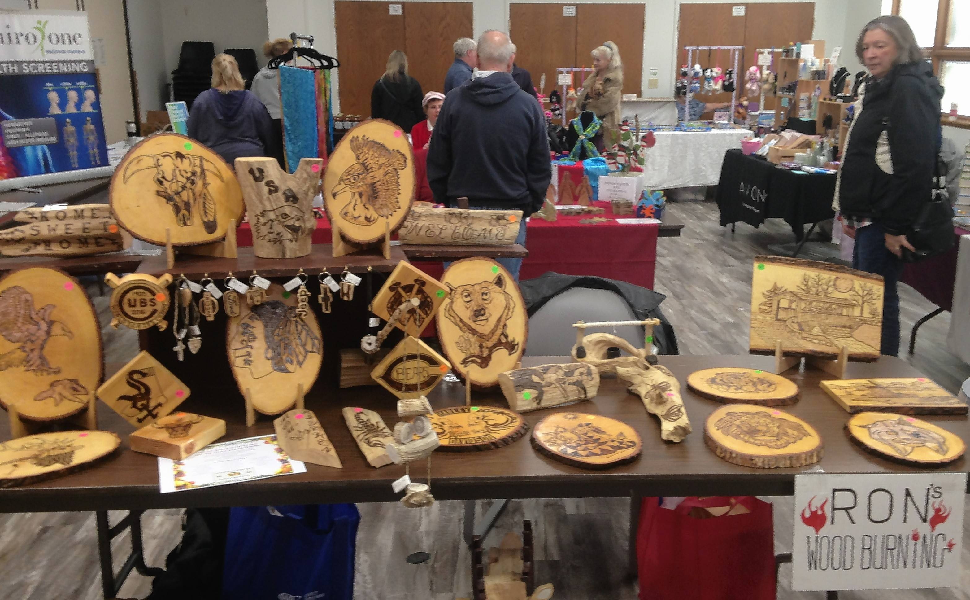 Home decor items were available at Ron's Wood Burning Saturday at the Elk Grove Winter Market in Christus Victor Church. The market will operate on the first and third Saturdays of the month through April.